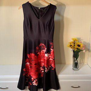 DKNY Black Red Floral V-Neck Dress Fit & Flare 2